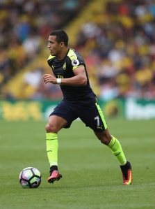 WATFORD, ENGLAND - AUGUST 27:  Alexis Sanchez of Arsenal in action during the Premier League match between Watford and Arsenal at Vicarage Road on August 27, 2016 in Watford, England.  (Photo by Christopher Lee/Getty Images)